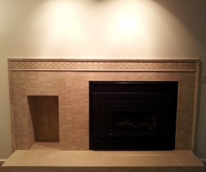 Fire place natural lime stone