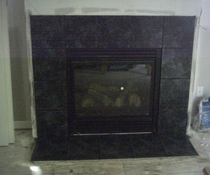 Fireplace black tile