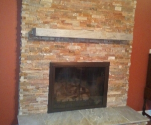 Fireplace stacked stone 2