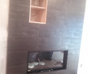 Modern fireplace 12x24 tile