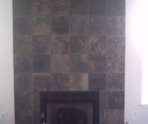 Multi colored slate fireplace