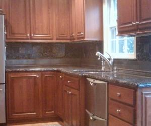 Kitchen dark maple cabinets